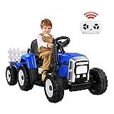 METAKOO Tractor Eléctrico 12V 7Ah, 2+1 Cambio de Marchas, 25W Tractor Batería con Remolque, Bocina/Reproductor MP3/ Bluetooth/Puerto USB/Faro de 7 LED, Control Remoto para Niño 3-6 años (Azul)