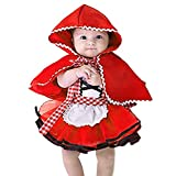 IBTOM CASTLE Disfraz Caperucita Roja Traje del Vestido Niña Bebé Ropa Recien Nacido Vestido Infantil Disfraz 6-12 Meses