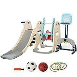 HOMCOM Parque Infantil 5 en 1 Tobogán y Columpio 2 Canastas Baloncesto y Portería Fútbol para Niños de +1 Año Interior y Exterior 220x225x110 cm Multicolor