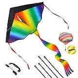 Joy-Jam Juguetes para Niños 5-8 Años Niña Gran Cometa para Niños y Adultos Juegos al Aire Libre Juguetes de Verano Kite Colorida Arco Iris Regalos para Niños 4-6 Años Juguete Paracaídas