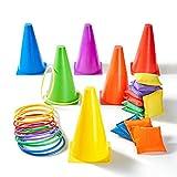 Paochocky 30 Piezas 3 en 1 Juego de Set, Entrenamiento Plástico Conos, Bolsas de Frijol y Anillos de plástico Juego para los Entrenamiento Fútbol, Deportes y Juegos al Aire Libre del Carnaval