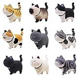 Juego de 9 figuras de gato de Tpocean, decoración del interior del hogar, coche, accesorios de resina para decoración de jardín de hadas
