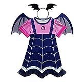 WEIHUIMEI 1 Juego de Vampiro para Disfraces de Halloween, Vampiros, Disfraces de Cosplay, Vestidos de Fiesta para niñas pequeñas, As The Picture, 110 cm