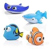 WolinTek Océano Squirting Juguete del Baño,4 Pack Juguetes de Baño Flotante,Juguetes de Natación del Flotante para Bebe,Animales Marinos Juguetes bañera Bebe para niños