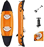 WEUN 351 * 76 * 38cm 2 Persona Kayak Inflable, embarcación Naranja Touring Kayaks Pesca Pesca Agua Portátil Canoa de Deporte con remos de Aluminio Bolsa Bolsa 2 Chalecos de Vida