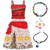 Jurebecia Disfraces De Niñas Moana Vestido de Princesa Traje Fiesta De Cumpleaños De Halloween Carnaval Cosplay Party Dress up