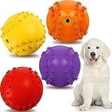 4 Piezas Bola Chirriante de Perro Juguetes Interactivos de Goma Duraderos y Divertidos Juguetes de Masticar de Perro no Tóxicos Pelota de Tenis de Perros al Aire Libre para Perro Grande y Pequeño
