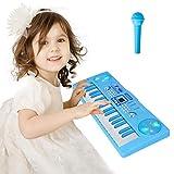 Shayson Piano 37 Teclas Teclado Electrónico Piano Portátil con Micrófono Juguete Educativo Música Digital Multi-función Instrumento para Niños Principiantes Niña Niños(Azul)