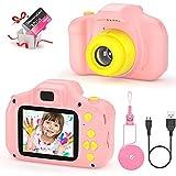 Cámara Fotos Infantil Digital para Niños Juguetes Niña Regalos para Niños Pantalla HD de 2 Pulgadas 1080P Tarjeta de 32GB TF Regalos Juguete para Niños de 3 a 12 años Niños Niñas Cumpleaños (Rosa)
