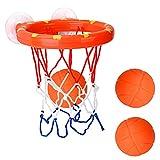 DEWEL Juguetes de Baño Bebe Pelota de Baloncesto para niños con Ventosa Fuerte Fácil de Instalar con 3 Pelotas Canasta Baloncesto Infantil