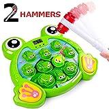 Rolimate Juego Interactivo Whack A Frog Cumpleaños 2 3 4 5 6 7 años Actividades para niños y niñas Juegos Juguete con 2 martillos para niños Bebés Niños pequeños Juguetes de Desarrollo