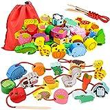 Regalos de cumpleaños para niñas de 18-36 meses, niños pequeños, juguetes de aprendizaje de madera para enhebrar para niñas bebés 1 2 3 regalo para niños juguete educativo Montessori para 2 3 4 años