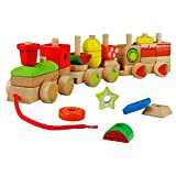 yoptote Tren de Madera Juguete para Arrastrar con Fruta y Tarta Bloques Construcción para Niños Bebé