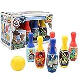 Disney Toy Story 4 Set Bolos Infantil Pixar   Juego De Bolos para Niños con 6 Bolos Azul, Rojos, Amarillo Y Una Bola De Bolos Amarilla   Bolos Infantiles Juegos De Exterior E Interior