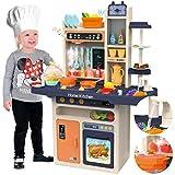 Kinderplay Cocina Juguete, Cocina para Niños - Luz, Agua Vapor, con Sonido, cocinitas de juguetes, altura 93.5 cm, desde el suelo hasta el tablero de la mesa 46 cm. 65 accesorios incluidos, KP9294