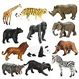 Achort Conjunto de Juguetes Animales de Mini Selva de 12 Piezas, Mini Animal Salvaje Figura Modelo Juguetes Set de Simulación De Plástico Animales Niños Niñas Juguete Cognición Educativa