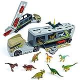 Dinosaurios Juguetes Camión - Transportador Camiones Grandes de Juguete con 12 Dinosaurio Animales Juguetes 2 Coches Educativos Regalo Juguetes Niños 3 4 5 6 años