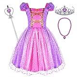 Tacobear Princesa Disfraz Niña Princesa Vestido con Collar Varita Mágica Corona Halloween Cosplay Carnaval Princesa Disfraces para Niña 2 3 4 5 6 Años(4-5 Años)