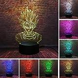 Lámpara de ilusión 3D, Siete regalos de Dragon Ball Juguetes Decoración Lámpara de luz de noche LED 7 colores Control táctil Lámpara de decoración de fiesta alimentada por USB, Lámpara visual 3D