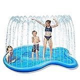 Glymnis Splash Pad Aspersor de Juego 170 cm Almohadilla de Aspersión en Forma de Ballena Juguete de Verano para Niños con 2 Parches de PVC Ecológico Azul