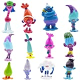 SZWL 12pcs Trolls Doll Cake Toppers, Mini Trolls Figuras de acción Cumpleaños Cake Topper, Troll Cake Decoración para niños Cumpleaños Baby Shower Troll Theme Party Supplies