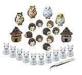 Decoraciones de jardín en miniatura, nicwhite 26piezas Juego de adornos en miniatura jardín de hadas figuras accesorios para DIY casa de muñecas maceta decoración, con 1pieza pinzas