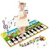 RenFox Alfombra Musical, Alfombra Piano Alfombrilla de Baile Suelo con 10 Teclas, 8 Sonidos Animales y 3 Instrumentos Musicales, Juguetes Educativos Regalos para Niños Niñas 1 2 3 Años