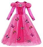 Le SSara Manga Larga Chica Princesa Cosplay Disfraces Fantasía vestido de mariposa (140, L-rose red)