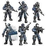 Bloques de construcción soldados de juguete rompecabezas villano militar modelo fuerzas especiales tropas policía fuego policía tráfico juntas móviles (H)
