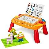Pizarra magnética para niños, 3 en 1, para niños pequeños, mesa de actividad, con bloques de juego, mesa de juegos educativa para 2, 3, 4, 5 años, chicas, regalo (naranja)