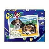 Ravensburger CreArt Cachorros Jack Russell, Kit de Pintura, Pintar por Números, Juego Creativo para Niños y Niñas, Edad Recomendada 7+