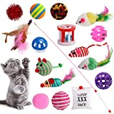 Dorakitten Juguetes para Gatos, 16 Piezas Juguete Interactivo Gato Plumas para Gatos Ratóns y Bolas Varias para Gatos para Gatos con Plumas