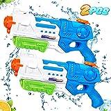 lenbest 2 Pack Pistolas de Agua, 900ML Pistola Agua Juguete, Juego de Pistolas de Chorro de Largo Alcance de 10 M, Verano Juguetes de Agua Juego, Jardín, Playa, Piscina Al Aire Libre,niño, Adulto