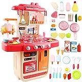 deAO Cocinita Mi Pequeño Chef con Características de Sonidos, Luces y Agua Cocina de Juguete Incluye 34 Accesorios (Rosa)