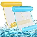 GOLDGE 2pcs Hamaca de Agua, 4 En 1 Tumbona Hinchable Colchoneta Hinchable Plegable Flotador Piscina, Hamaca Flotante Piscina