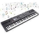 Electrónico Piano 61 Teclas Teclado de Piano Portátil Teclado Electrónico Musica Teclado Digital Keyboard Piano con Micrófono Juguete educativo Regalo para Niño Niña Principiantes