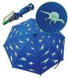 Paraguas con dinosaurios mágicos de HECKBO - Cambia de color si llueve - Plegable: cabe en cualquier mochila - Bandas reflectantes - Mango de madera y tapones protectores - Funda para almacenamiento