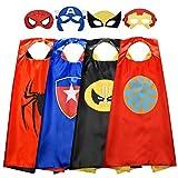 Tisy Regalos de Cumpleaños Capas de Satén de Dibujos Animados Superhéroe Vestir para Niños Juguetes de Fiesta Para Niños de 3-10 Años Disfraz Niño Halloween