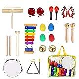 Ulifeme Instrumentos Musicales para Infantil, 24pcs Juguetes Músicales de Percusion para Bebes, Xilófono Madera Set de Instrumentos Musicales para Niños Juegos Musical con Una Bolsa de Transporte