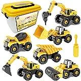 Sanlebi 6 Piezas Desmontar Camiones Grandes de Juguete, Construcción Vehículos Excavadora Tractor de Juguete con Herramientas para 3 4 5 Años Niño y Niña