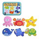 SIPLIV Rompecabezas Caja de Hierro para niños y niños de 2 a 5 años de Edad, Juegos y Juguetes de educación temprana, 6 Piezas por Juego - Animales del océano