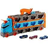 Hot Wheels Camión de transporte convertible en pista para coches de juguete, almacena 20 vehículos, incluye 3 die-casts (Mattel GVG37)