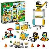 DUPLO Town DUPLO Construction Grúa Torre y ObraVehículo de Juguetecon Luz y Sonido y Motor Push & Go para 2-5 Años de Edad, multicolor (Lego ES 10933)
