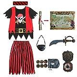 Sincere Party Disfraz de Pirata de Fiesta sincera para niños, Juego de rol Pirata, Juego Completo de 8 Piezas para niños y niñas 3-4 años