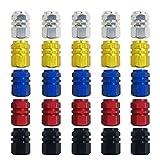 FineGood - Tapones de válvula de aleación de aluminio. Válvula de neumático para evitar fugas de aire para coche, moto, camión, bicicleta. Color dorado, plateado, rojo, azul y negro. 25uds.