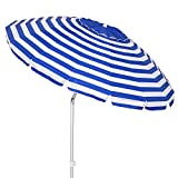 LOLAhome Sombrilla Playa antiviento de Rayas Azul Marino de Aluminio y Fibra de Vidrio (ø 240 cm)