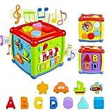 AiTuiTui Música Cubo de Actividades, 6 en 1 Incluye Caja de música Bloques Reloj Habilidades Motoras Juguetes educativos con luz de Sonido de 1 Años Regalo para bebés Niños