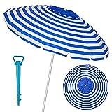 LOLAhome Sombrilla Playa con Soporte antiviento Azul Marino de Aluminio y Fibra de Vidrio (Ø 240 cm)