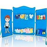 DeFieltro Armario Azul de Fieltro - Muñeca de Vestir con Ropa y Accesorios - para Niñas o Niños a Partir de 3 Años…