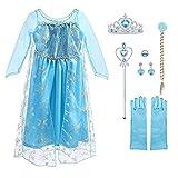 URAQT Vestido de Elsa, Disfraz de Elsa con Accesorios de Cosplay, Vestido de Princesa para Niñas con Capa de Copos de Nieve Brillantes, para Halloween, Cumpleaños, Carnaval y Fiesta